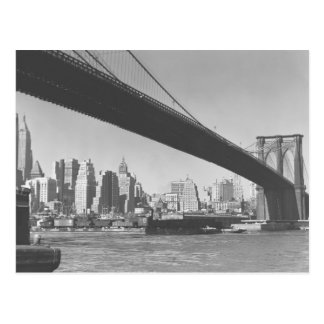 Brooklyn bridge and Manhattan skyline New York Postcard
