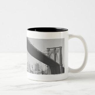 Brooklyn bridge and Manhattan skyline New York Two-Tone Coffee Mug