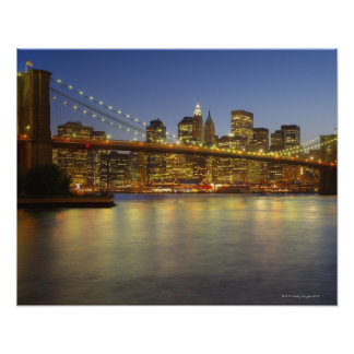 Brooklyn Bridge and New York City buildings Poster