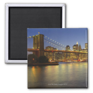 Brooklyn Bridge and New York City buildings Square Magnet