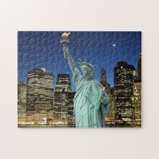 Brooklyn Bridge and The Statue of Liberty Jigsaw Puzzle