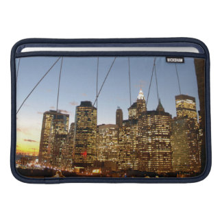Brooklyn Bridge At Dusk With Manhattan Skyline MacBook Sleeve