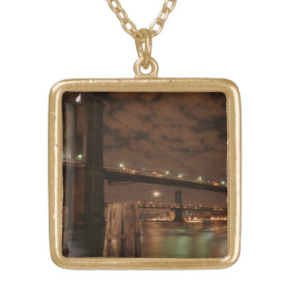 Brooklyn Bridge at Night Gold Plated Necklace
