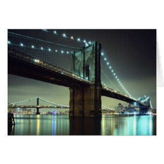 Brooklyn Bridge at night  Manhattan Bridge Card