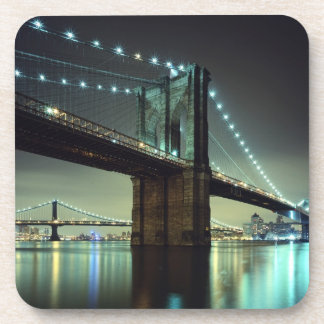 Brooklyn Bridge at night  Manhattan Bridge Coaster