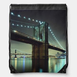 Brooklyn Bridge at night  Manhattan Bridge Drawstring Bag