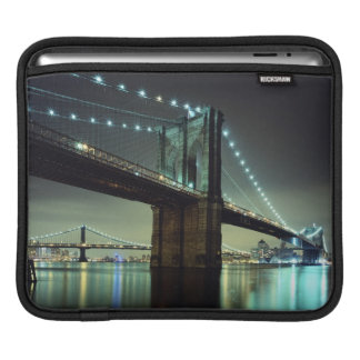 Brooklyn Bridge at night  Manhattan Bridge iPad Sleeve