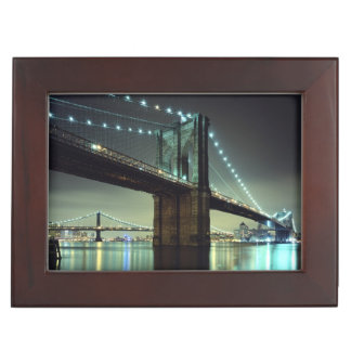 Brooklyn Bridge at night  Manhattan Bridge Keepsake Box