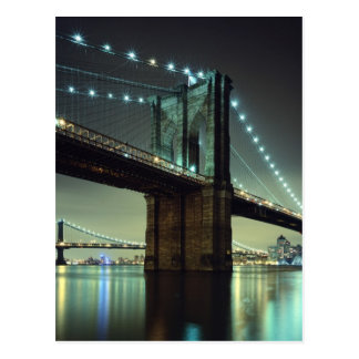 Brooklyn Bridge at night  Manhattan Bridge Postcard