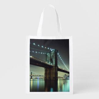 Brooklyn Bridge at night  Manhattan Bridge Reusable Grocery Bag