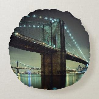Brooklyn Bridge at night  Manhattan Bridge Round Cushion