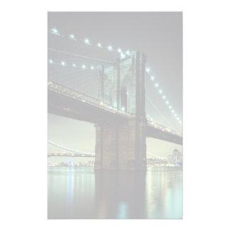 Brooklyn Bridge at night  Manhattan Bridge Stationery