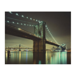 Brooklyn Bridge at night  Manhattan Bridge Wood Wall Decor