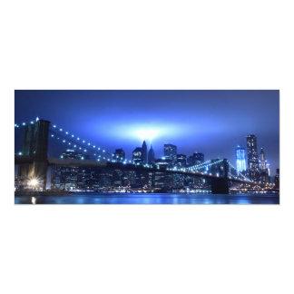 Brooklyn Bridge at Night, New York 10 Cm X 24 Cm Invitation Card