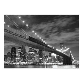 Brooklyn Bridge at Night, New York 13 Cm X 18 Cm Invitation Card