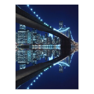 Brooklyn Bridge at Night, New York 17 Cm X 22 Cm Invitation Card