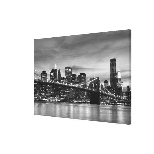 Brooklyn Bridge At Night, New York City Canvas