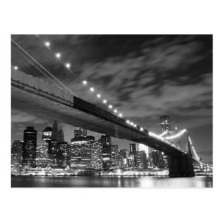 Brooklyn Bridge at Night, New York City Postcard