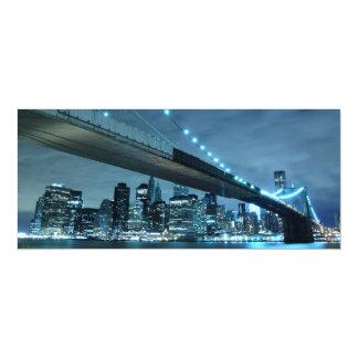 Brooklyn Bridge at Night, New York 4x9.25 Paper Invitation Card