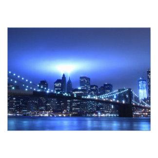Brooklyn Bridge at Night New York Personalized Invitations