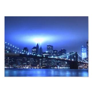 Brooklyn Bridge at Night, New York 4.5x6.25 Paper Invitation Card