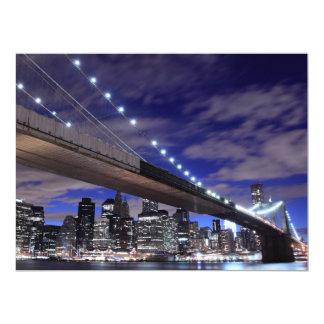 Brooklyn Bridge at Night, New York Custom Announcements