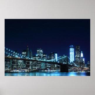 """Brooklyn Bridge at Night Poster (30.00"""" x 20.00"""")"""