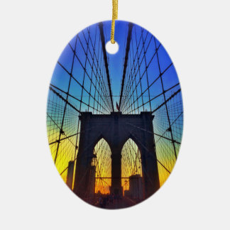 Brooklyn Bridge At Sunset Christmas Ornament