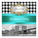 Brooklyn Bridge Blk Wht Houndstooth 2 Graduation 13 Cm X 13 Cm Square Invitation Card