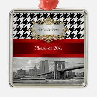 Brooklyn Bridge Blk Wht Houndstooth Christmas Silver-Colored Square Decoration