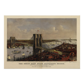 Brooklyn Bridge by and 1885) Poster