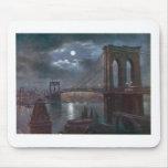 Brooklyn Bridge by Moonlight Mousepads