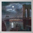 Brooklyn Bridge by Moonlight Poster