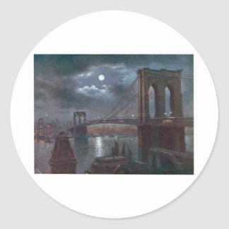 Brooklyn Bridge by Moonlight Round Sticker