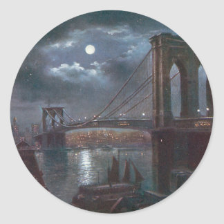Brooklyn Bridge by Moonlight Round Sticker