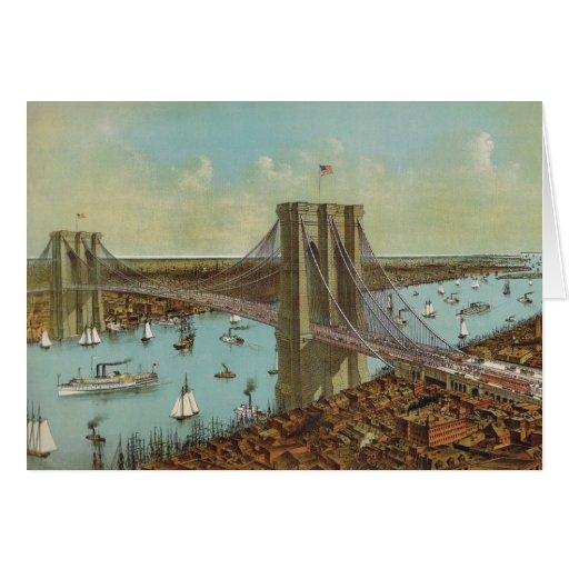 Brooklyn Bridge Color Postcard Greeting Cards