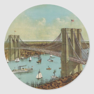 Brooklyn Bridge Color Postcard Classic Round Sticker