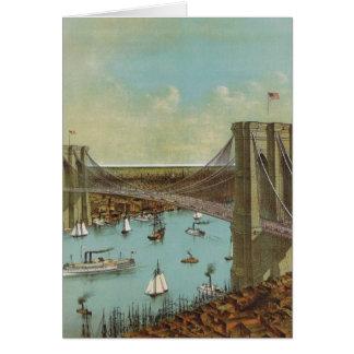 Brooklyn Bridge Color Postcard Greeting Card