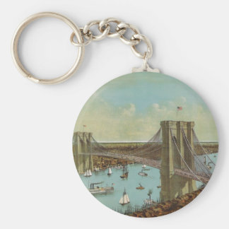 Brooklyn Bridge Color Postcard Key Ring