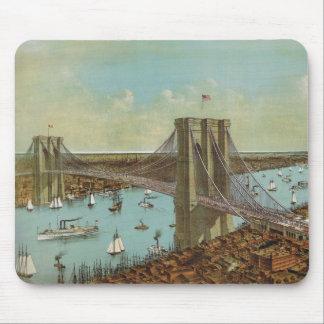 Brooklyn Bridge Color Postcard Mouse Mat