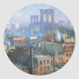 Brooklyn Bridge, East River, circa 1916 Round Sticker