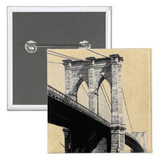 Brooklyn Bridge Ferry Boats 1896 15 Cm Square Badge