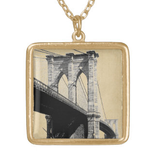 Brooklyn Bridge Ferry Boats 1896 Square Pendant Necklace