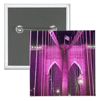 Brooklyn Bridge Lit Purple 15 Cm Square Badge