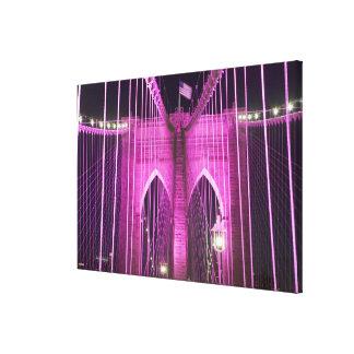 Brooklyn Bridge Lit Purple Gallery Wrap Canvas