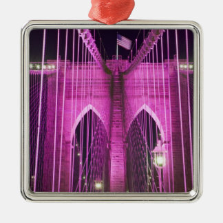 Brooklyn Bridge Lit Purple Christmas Ornament