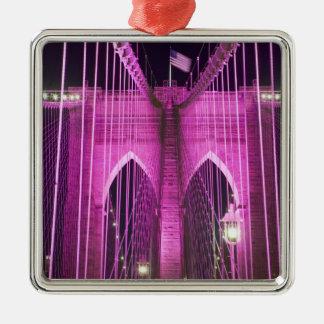 Brooklyn Bridge Lit Purple Silver-Colored Square Decoration