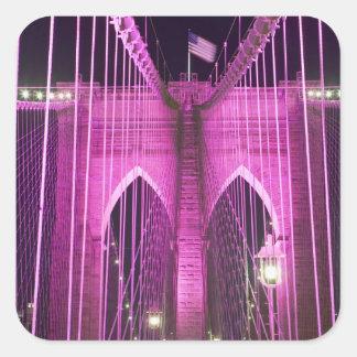 Brooklyn Bridge Lit Purple Square Sticker