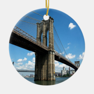 Brooklyn Bridge Manhattan island New York Christmas Ornament