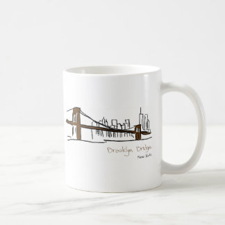 Brooklyn bridge New York illustration with the fea Coffee Mug